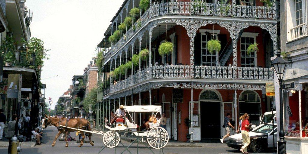 Wrought-Iron balconies in the New Orleans French Quarter